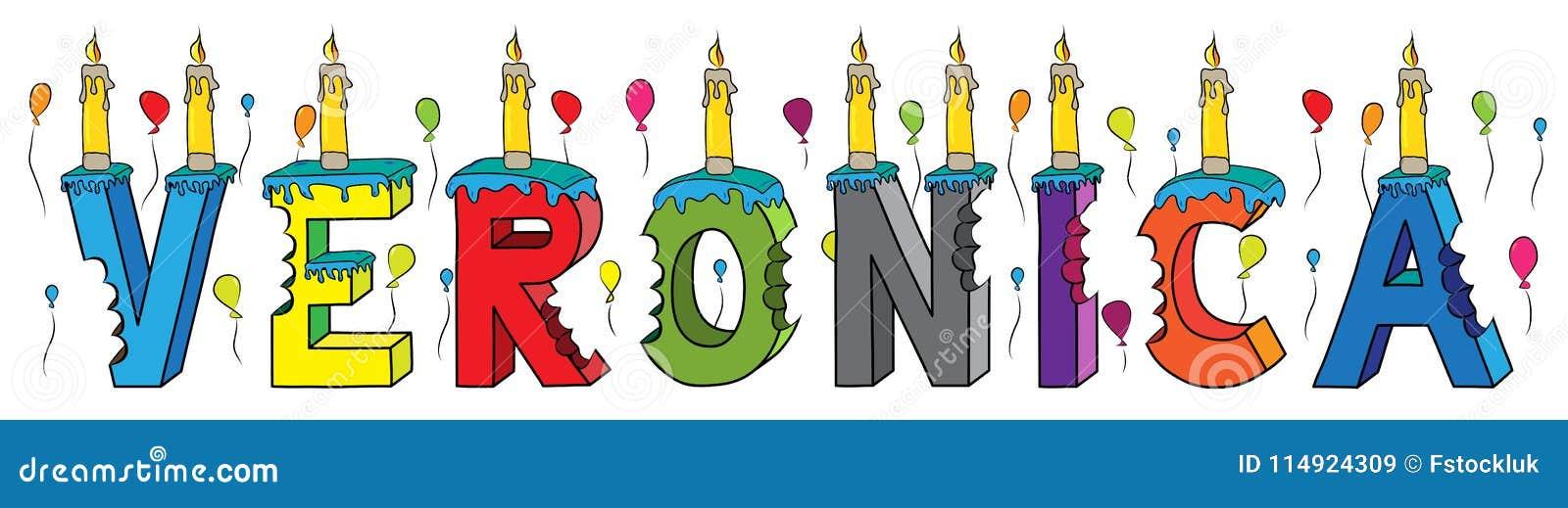 Bolo de aniversário colorido mordido da rotulação 3d do Veronica nome fêmea com velas e balões