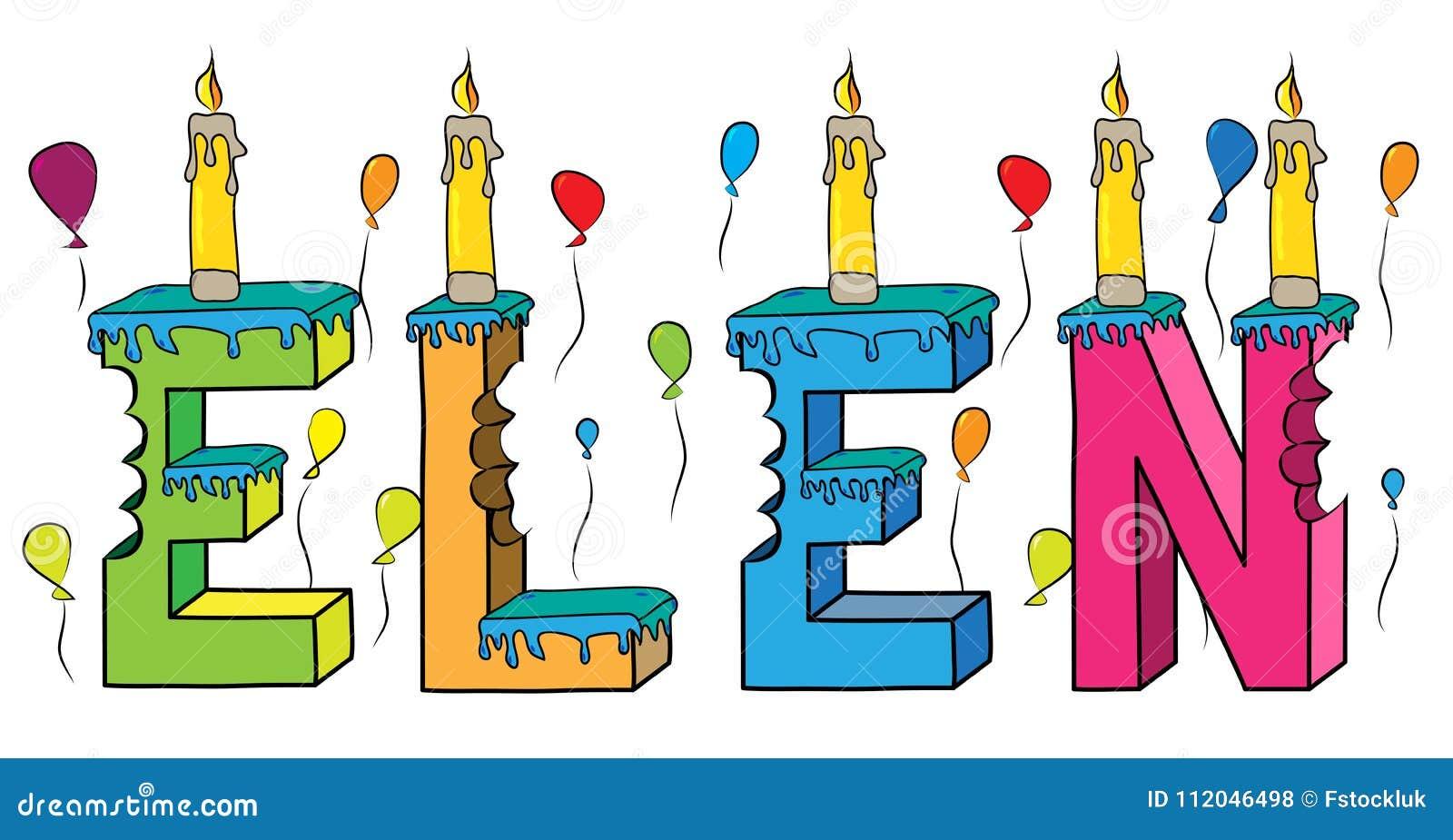 Bolo de aniversário colorido mordido da rotulação 3d de Elen nome fêmea com velas e balões