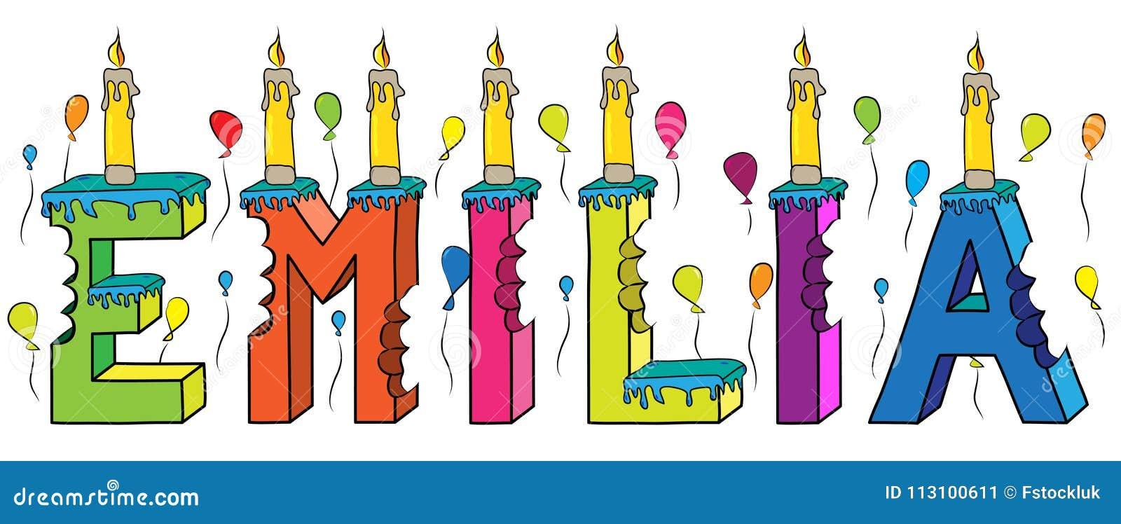 Bolo de aniversário colorido mordido da rotulação 3d de Emilia nome fêmea com velas e balões