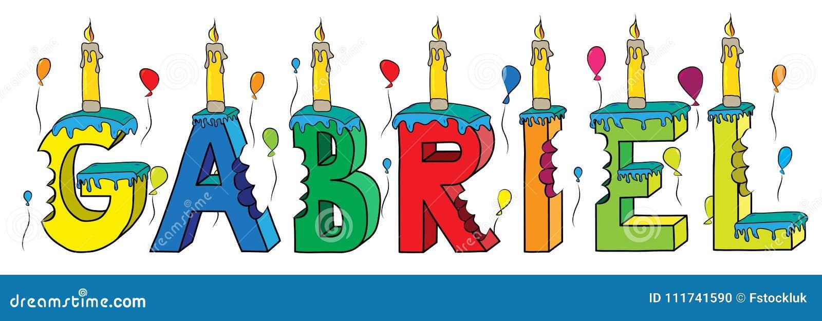Bolo de aniversário colorido mordido da rotulação 3d de Gabriel nome masculino com velas e balões