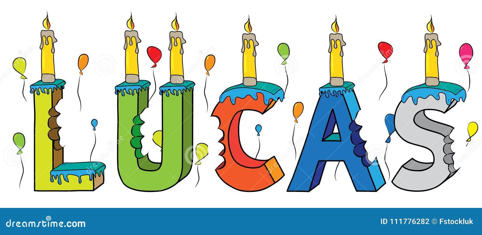 Bolo de aniversário colorido mordido da rotulação 3d de Lucas nome masculino com velas e balões