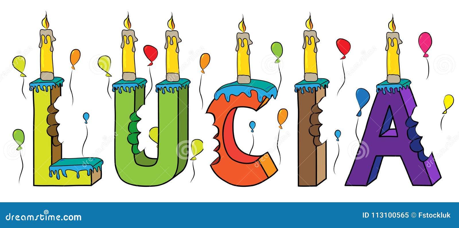 Bolo de aniversário colorido mordido da rotulação 3d de Lucia nome fêmea com velas e balões