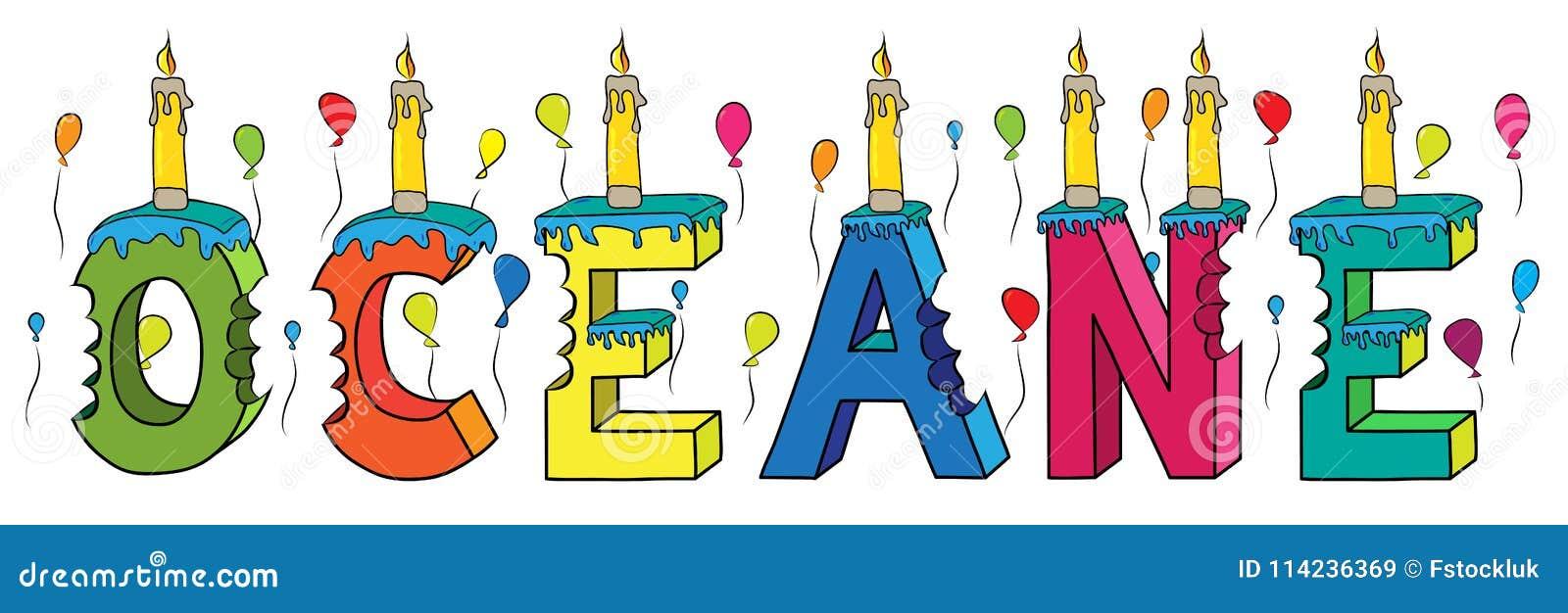 Bolo de aniversário colorido mordido da rotulação 3d de Oceane nome fêmea com velas e balões