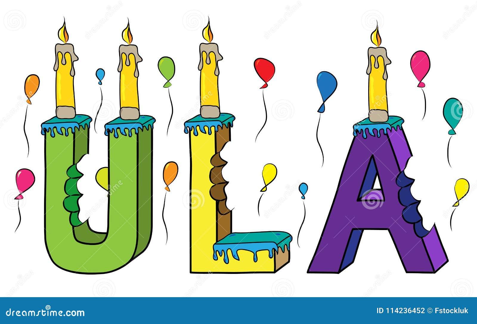 Bolo de aniversário colorido mordido da rotulação 3d de Ula nome fêmea com velas e balões