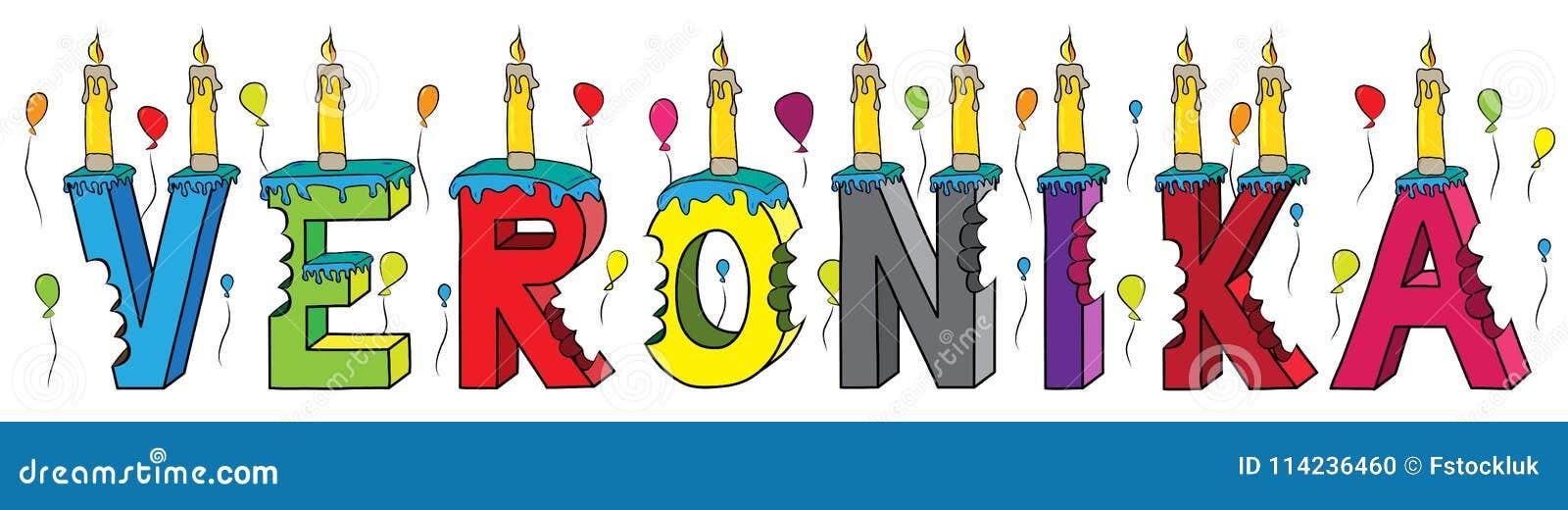 Bolo de aniversário colorido mordido da rotulação 3d de Veronika nome fêmea com velas e balões