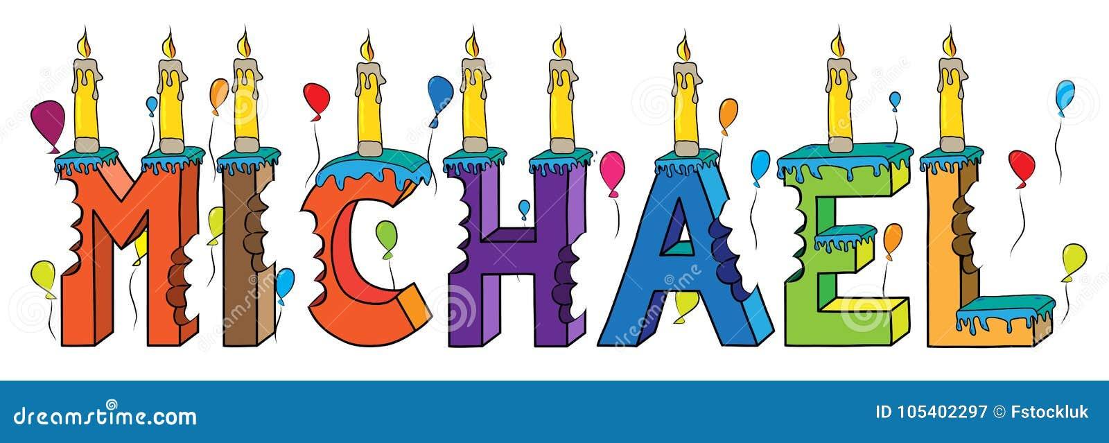 Bolo de aniversário colorido mordido nome da rotulação 3d de Michael com velas e balões