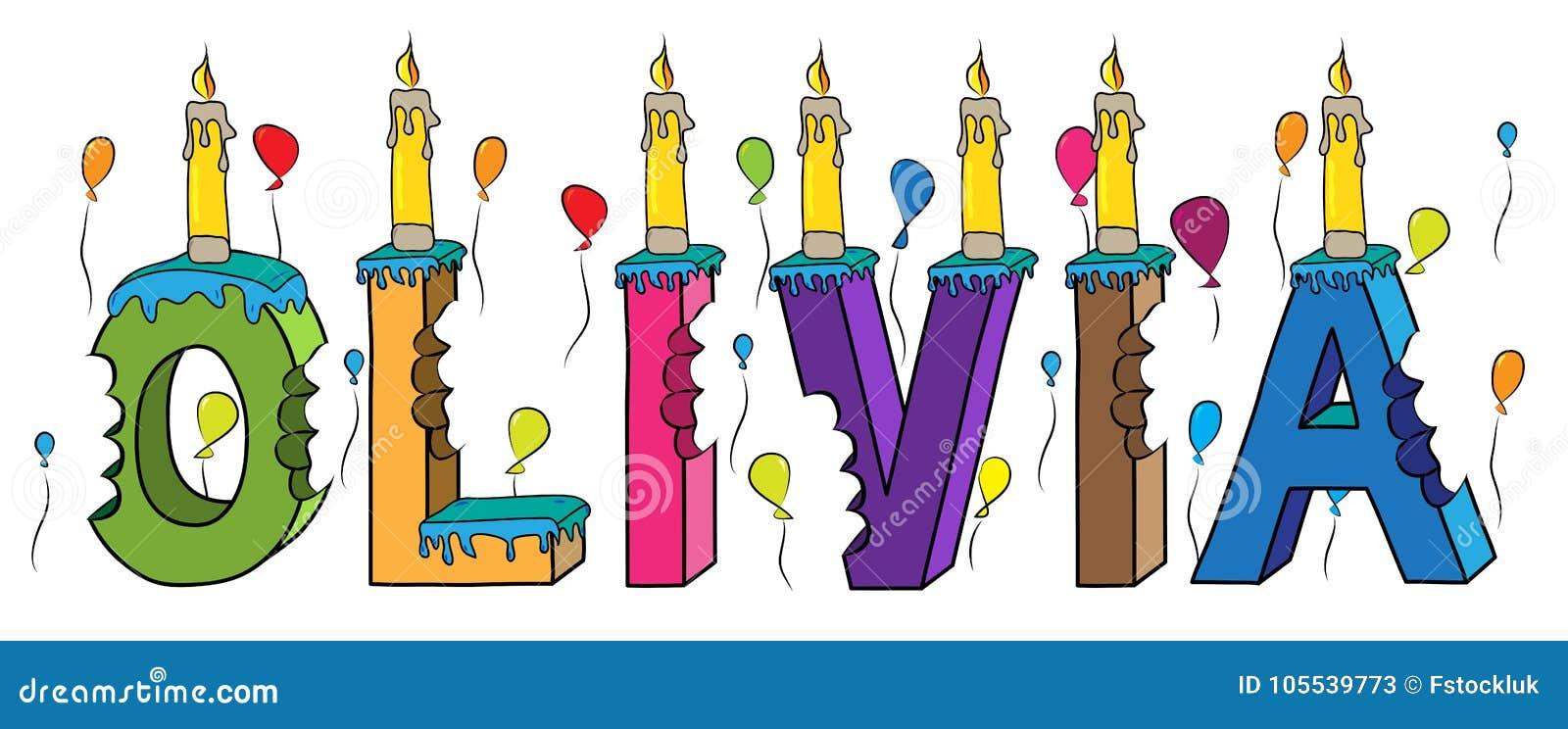 Bolo de aniversário colorido mordido nome da rotulação 3d de Olivia com velas e balões