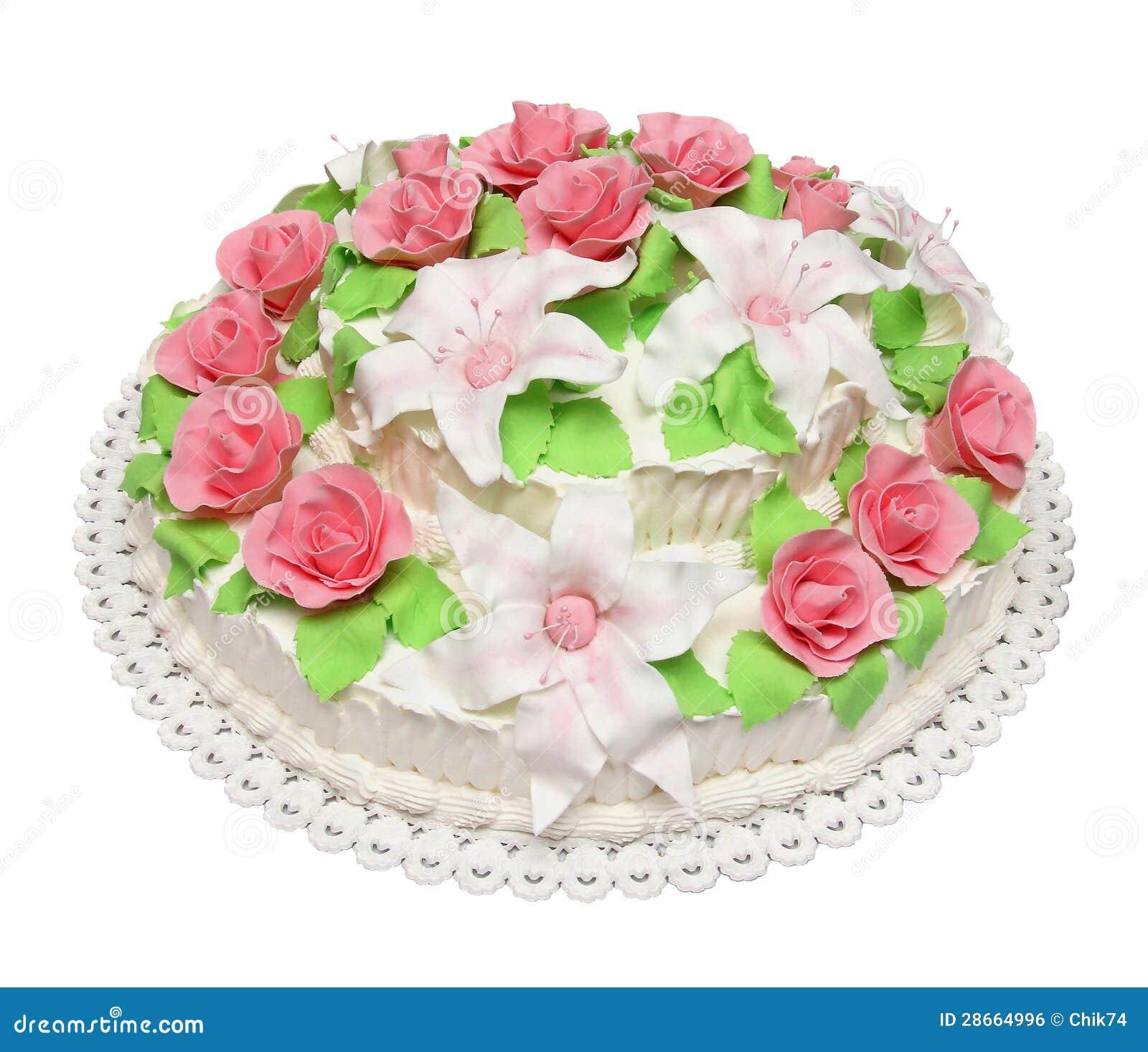 Bolo De Aniversario Decorado Com As Flores Isoladas No ...