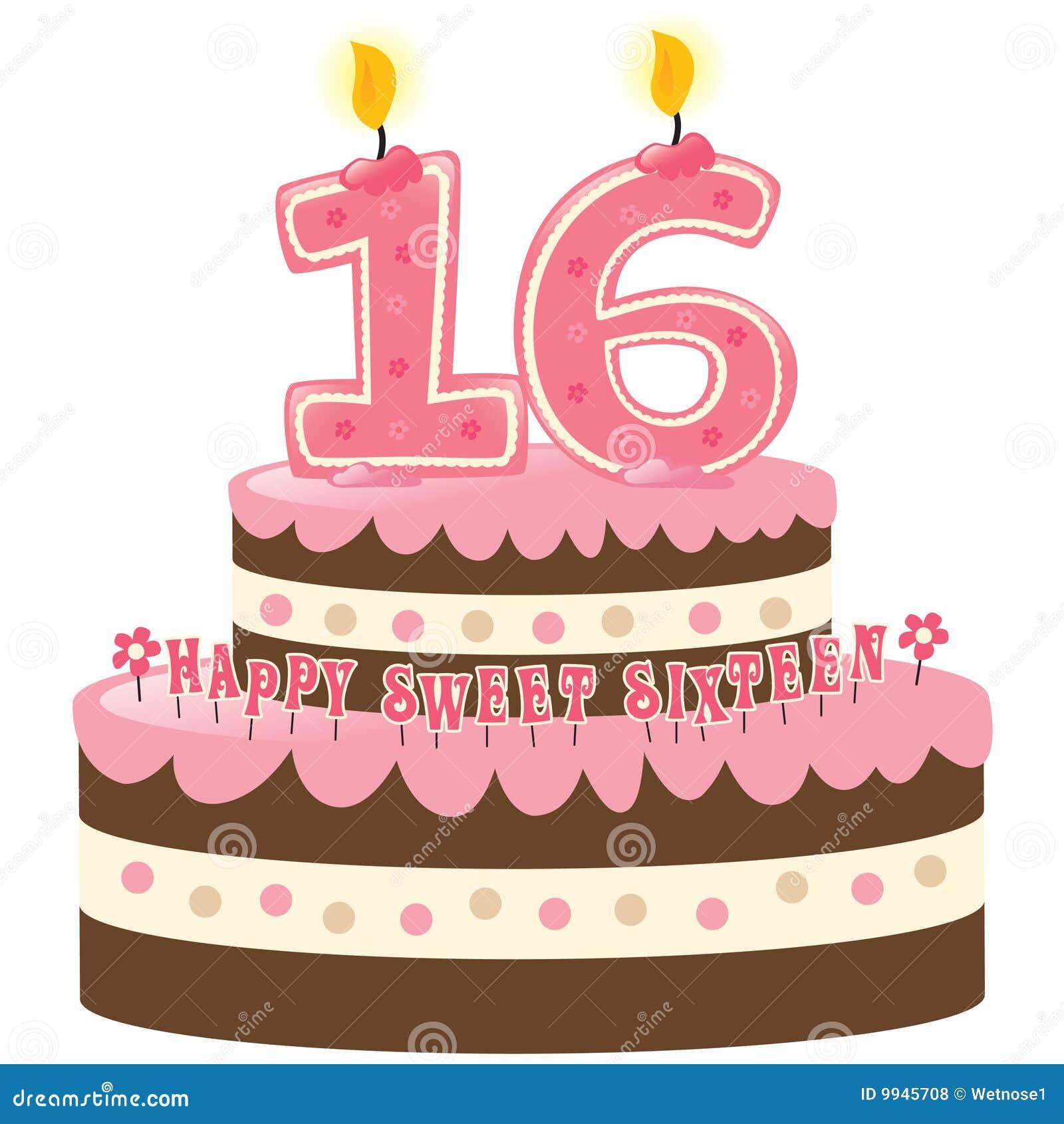 Bolo de aniversário do doce dezesseis