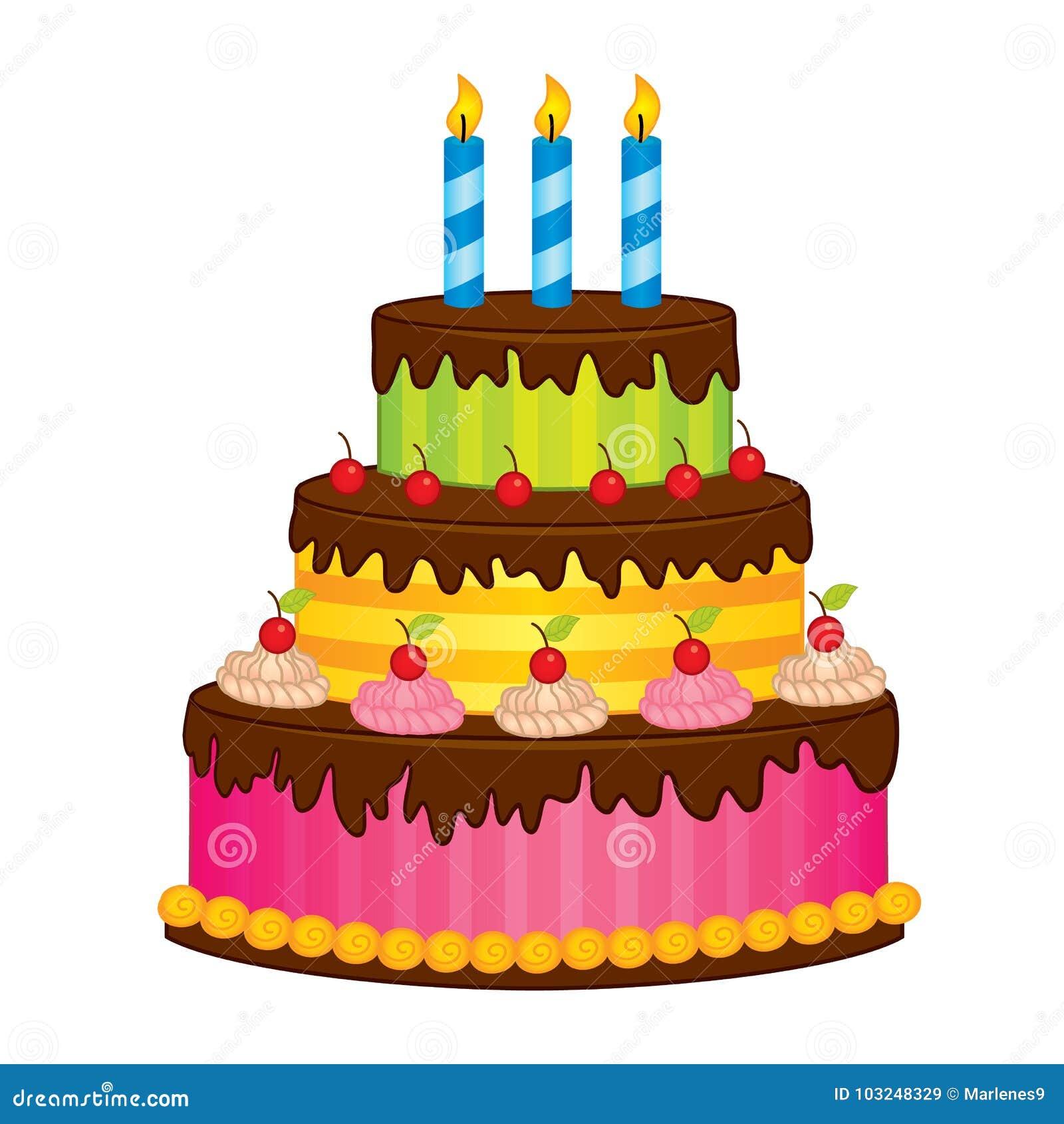 Bolo de aniversário do vetor com velas