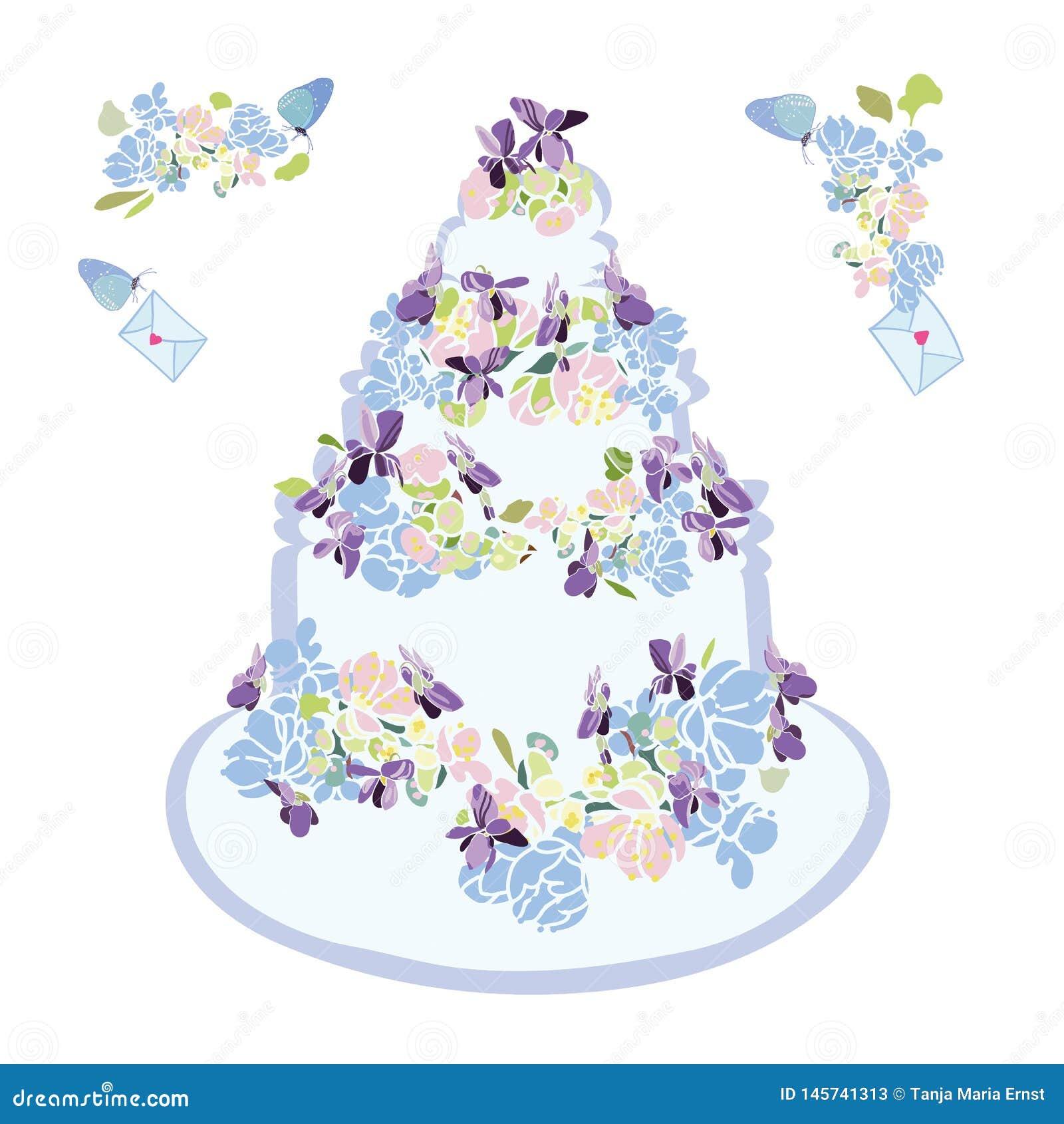 Bolo de casamento com flor e borboleta
