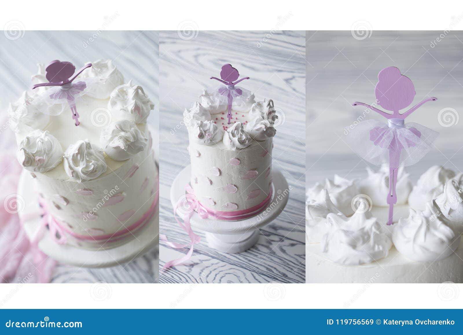 Bolo do rosa do ` s das crianças bolo do rosa do aniversário Bolo de aniversário estratificado