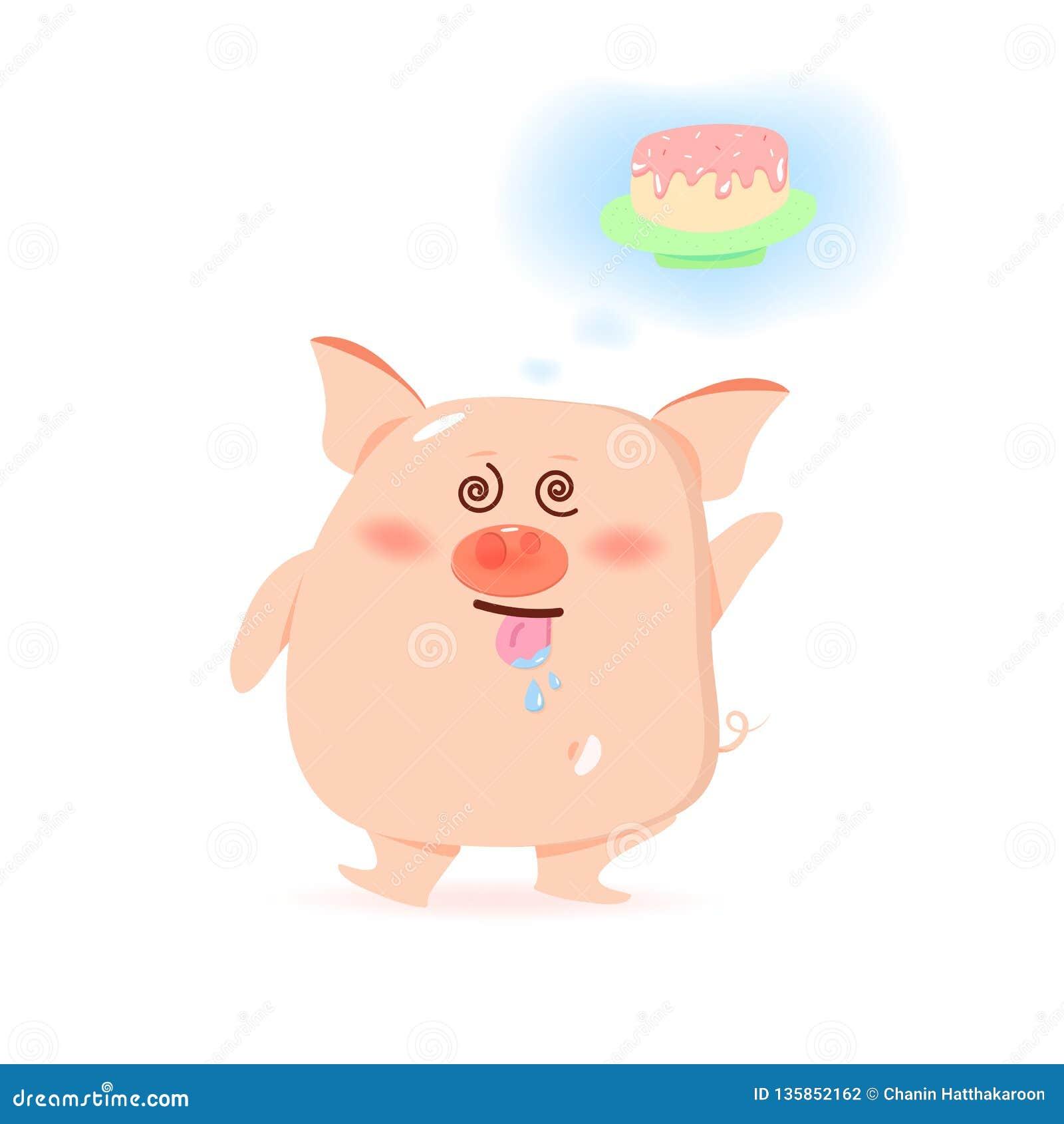 Bolo doce com fome do porco, personagens de banda desenhada bonitos, ano novo chinês, ano do porco na ilustração branca do vetor
