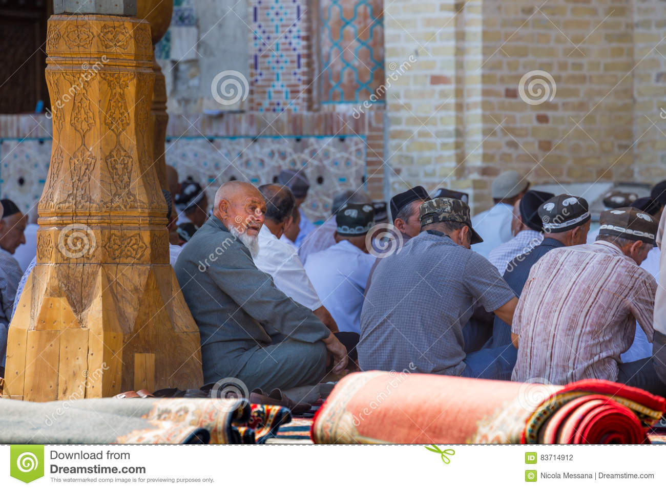 Bolo-Hauz Mosque In Bukhara, Uzbekistan Editorial Photography