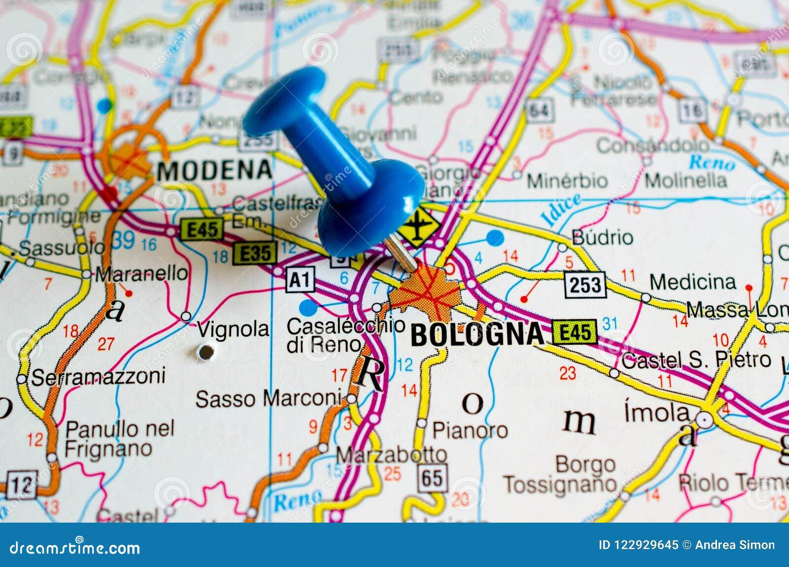 Bologna Auf Karte Stockbild Bild Von Stift Schuss Strasse 122929645
