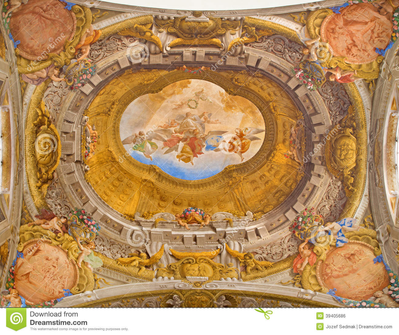 Bologna Ceiling Fresco From Chapel Of Rosary In Saint