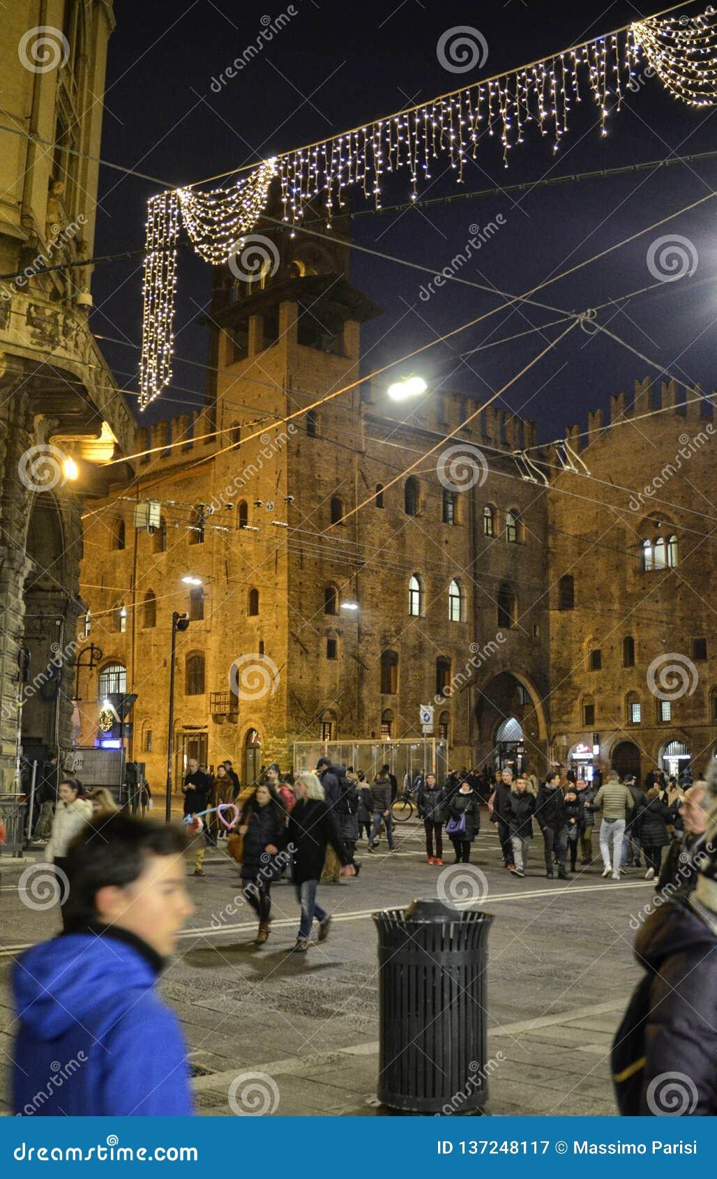 Bologna, Emilia Romagna, Italy. December 2018. Piazza Maggiore from the side of Palazzo Re Enzo