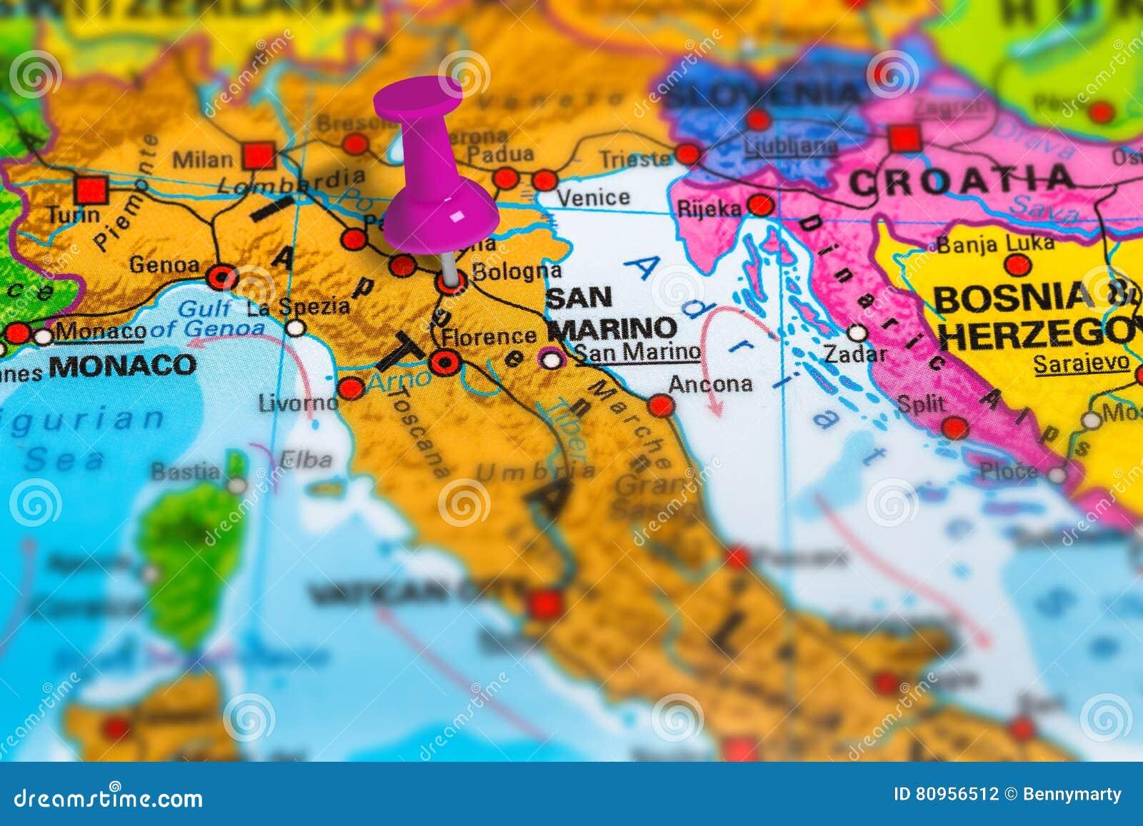 Bologna Italien Karte Stockfoto Bild Von Lenkung Markiert 80956512