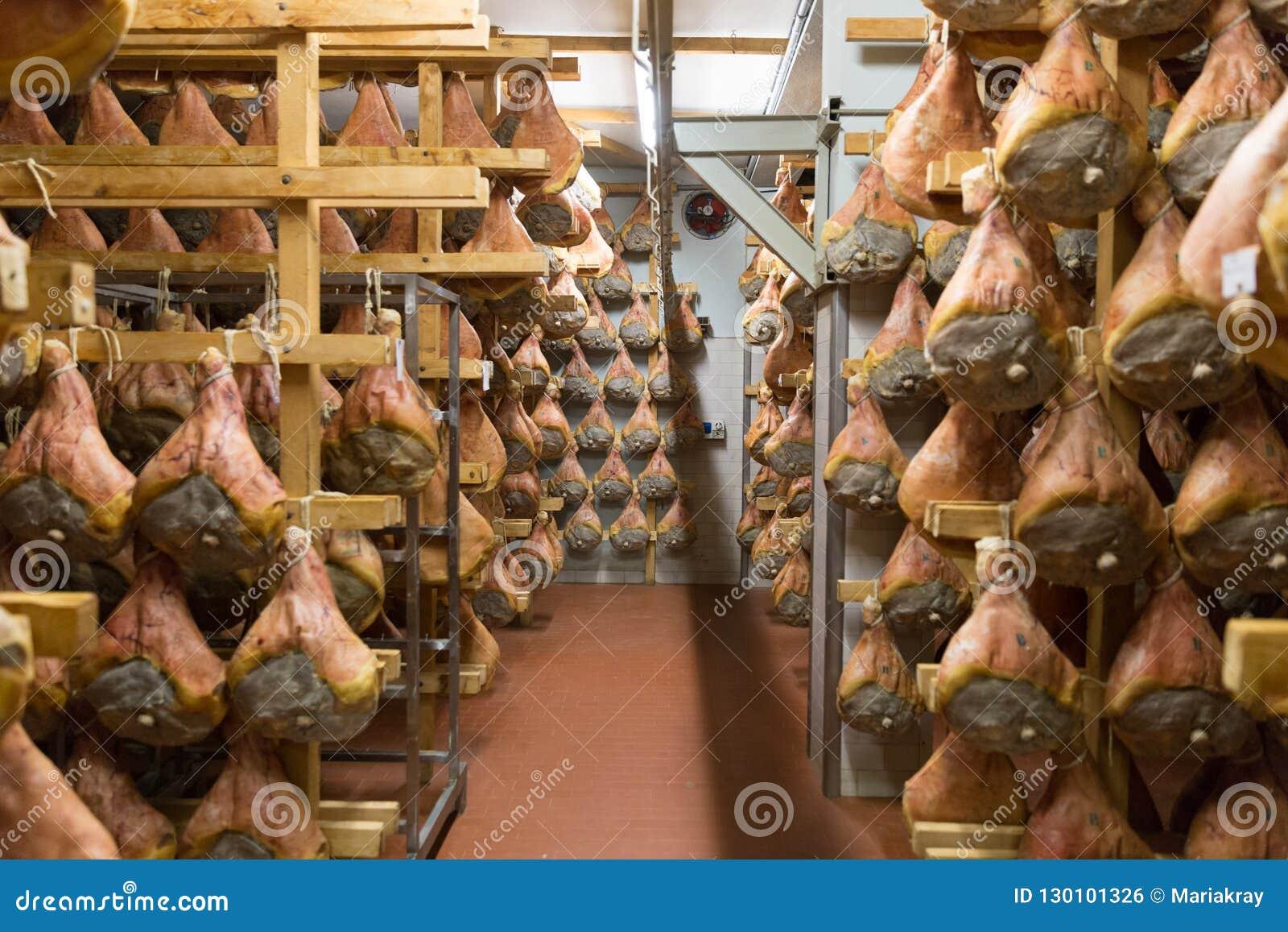 BOLOGNA, ITALY. May 02, 2018: Sorage Of Prosciutto In Ham ...