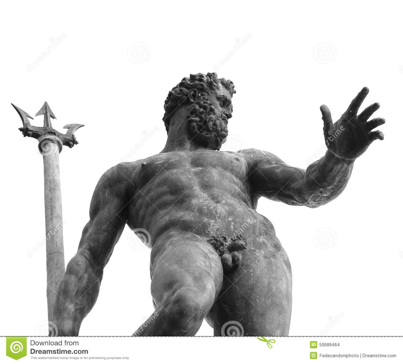 Bologna, Italy, Naked Neptune With Trident Stock Photo -4871