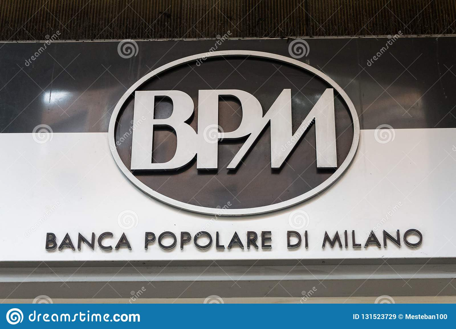 Bpm Logo On Bpms Bank Office Editorial Stock Image Image Of