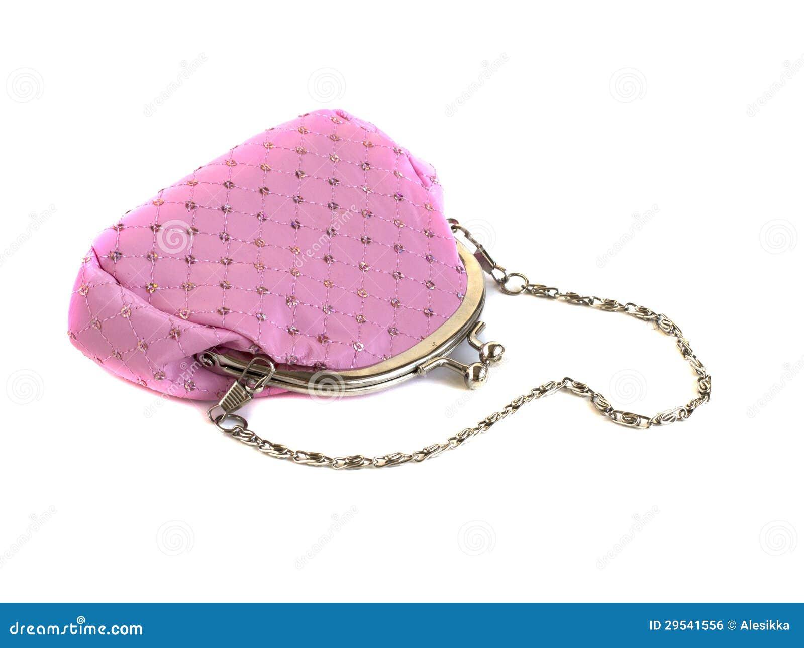 Bolsa cor-de-rosa com corrente