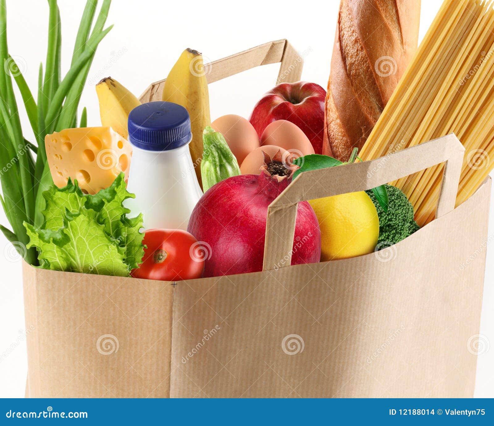 Bolsa de papel con el alimento