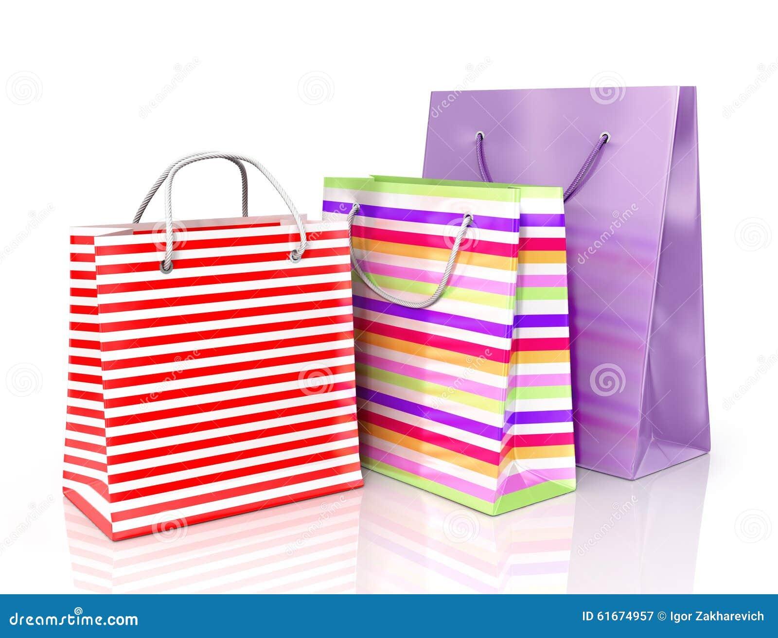 Bolsas De Papel Coloridas Para Hacer Compras Imagen De Archivo