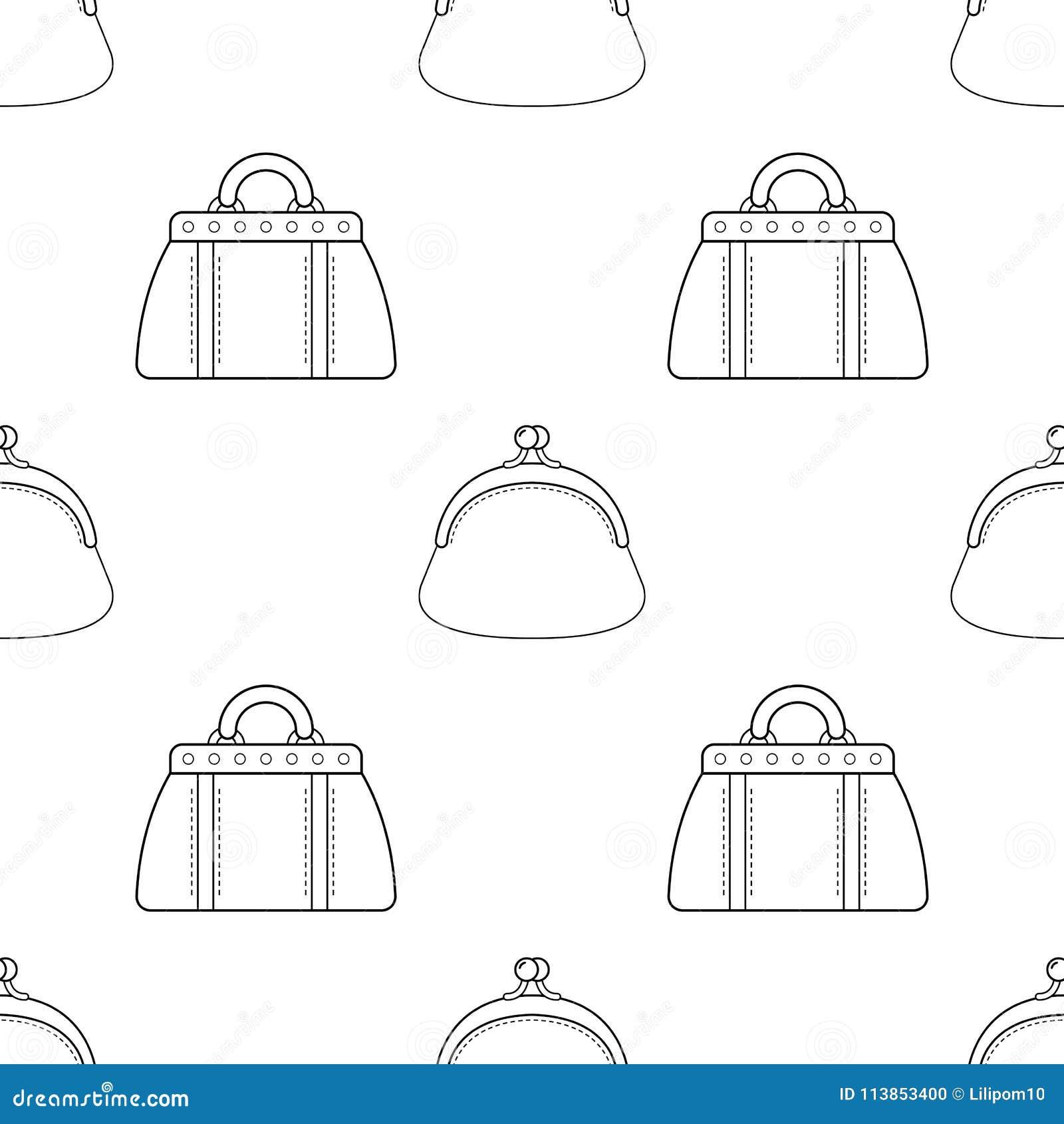 Bolsas Elegantes Teste Padrao Sem Emenda Preto E Branco Dos Sacos
