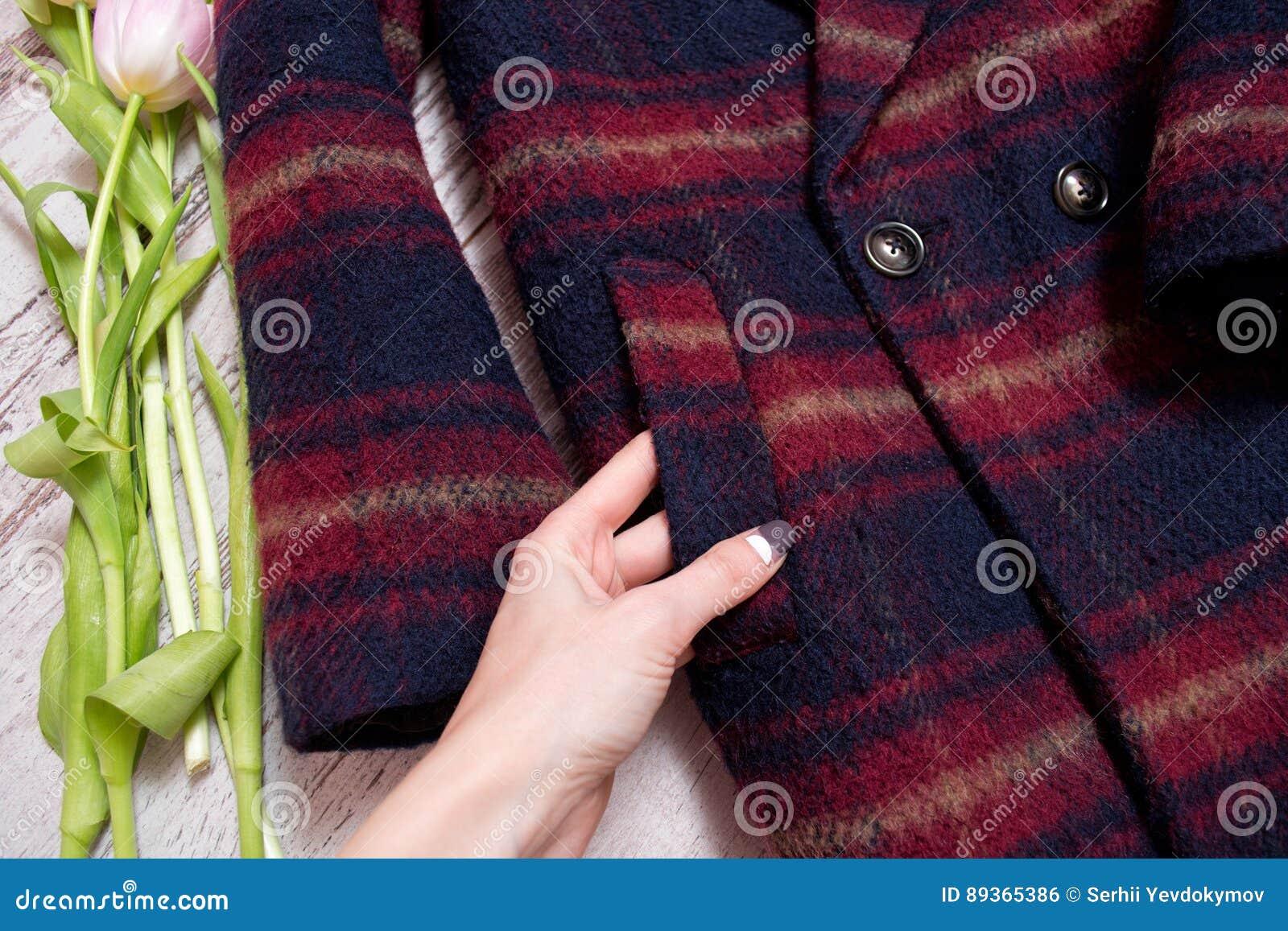 Bolso de um revestimento quadriculado, uma mão fêmea, tulipas Conceito elegante, detalhes