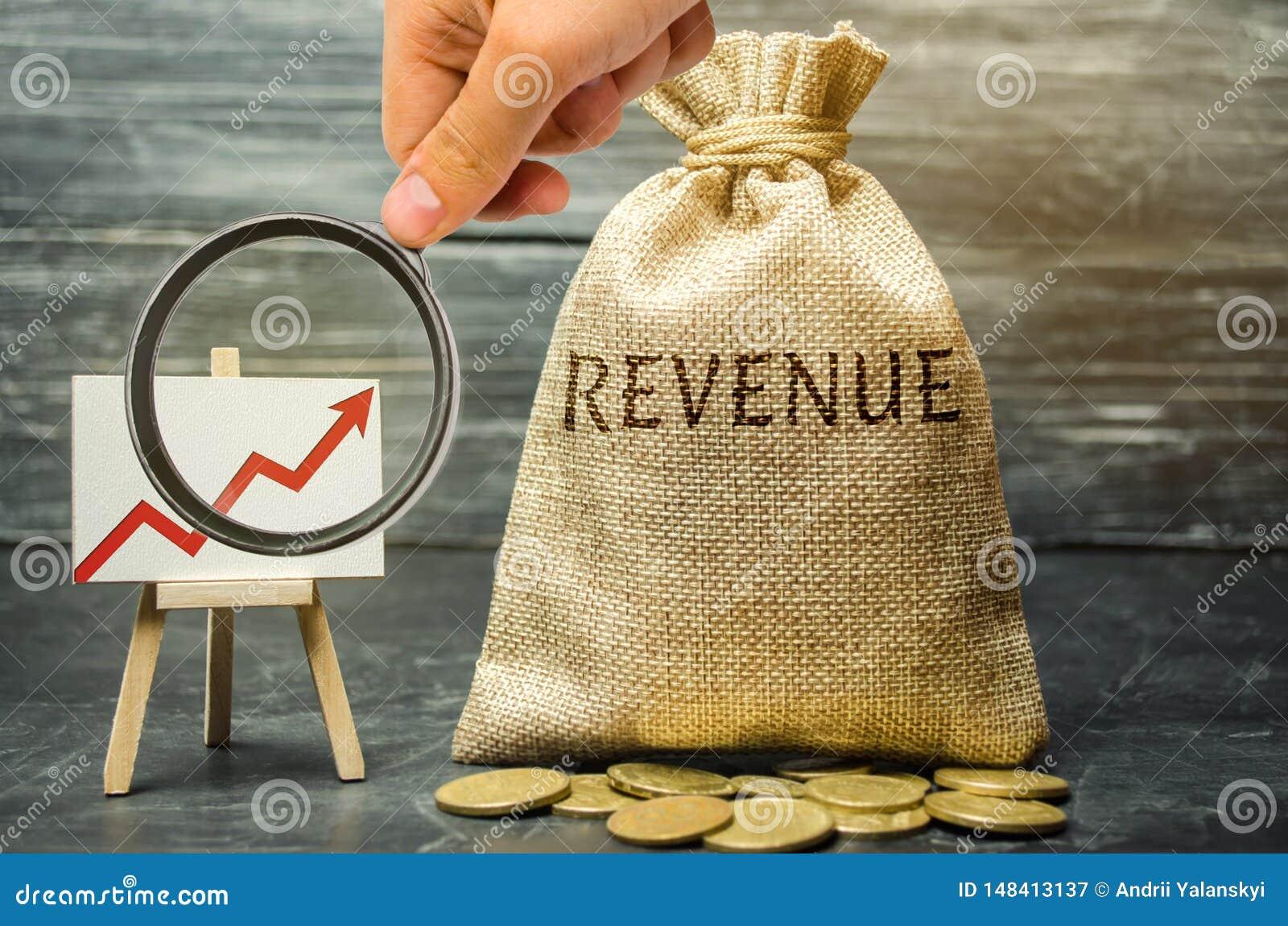 Bolso del dinero con los ingresos y el gr?fico de la palabra para arriba El concepto de beneficios y de finanzas cada vez mayores