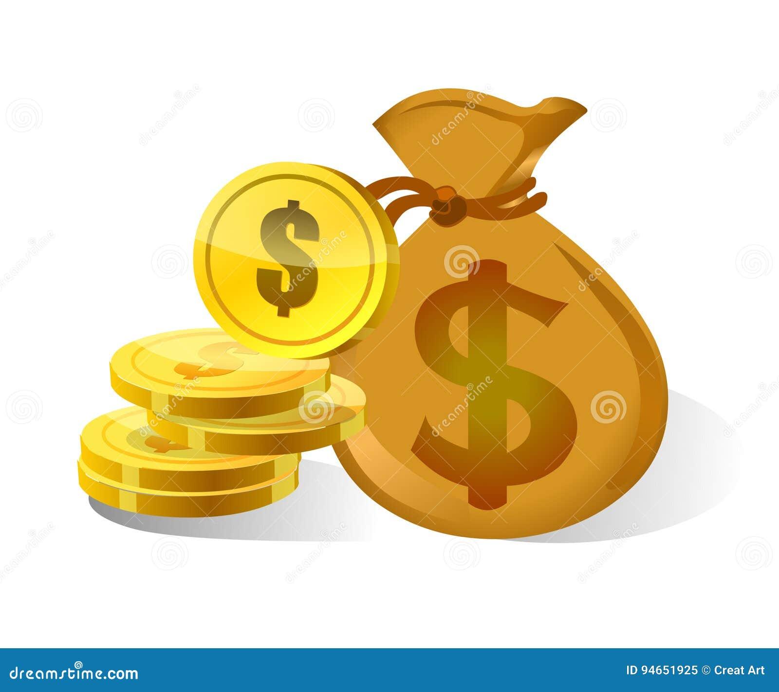 Bolso e icono del dinero del dólar