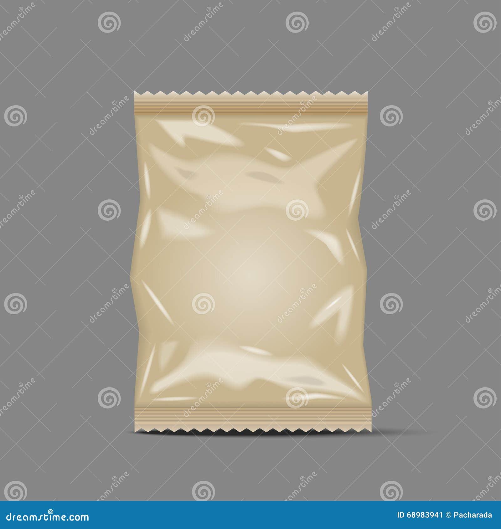 Bolso en blanco que empaqueta, papel de la bolsita del bocado de la comida de la hoja