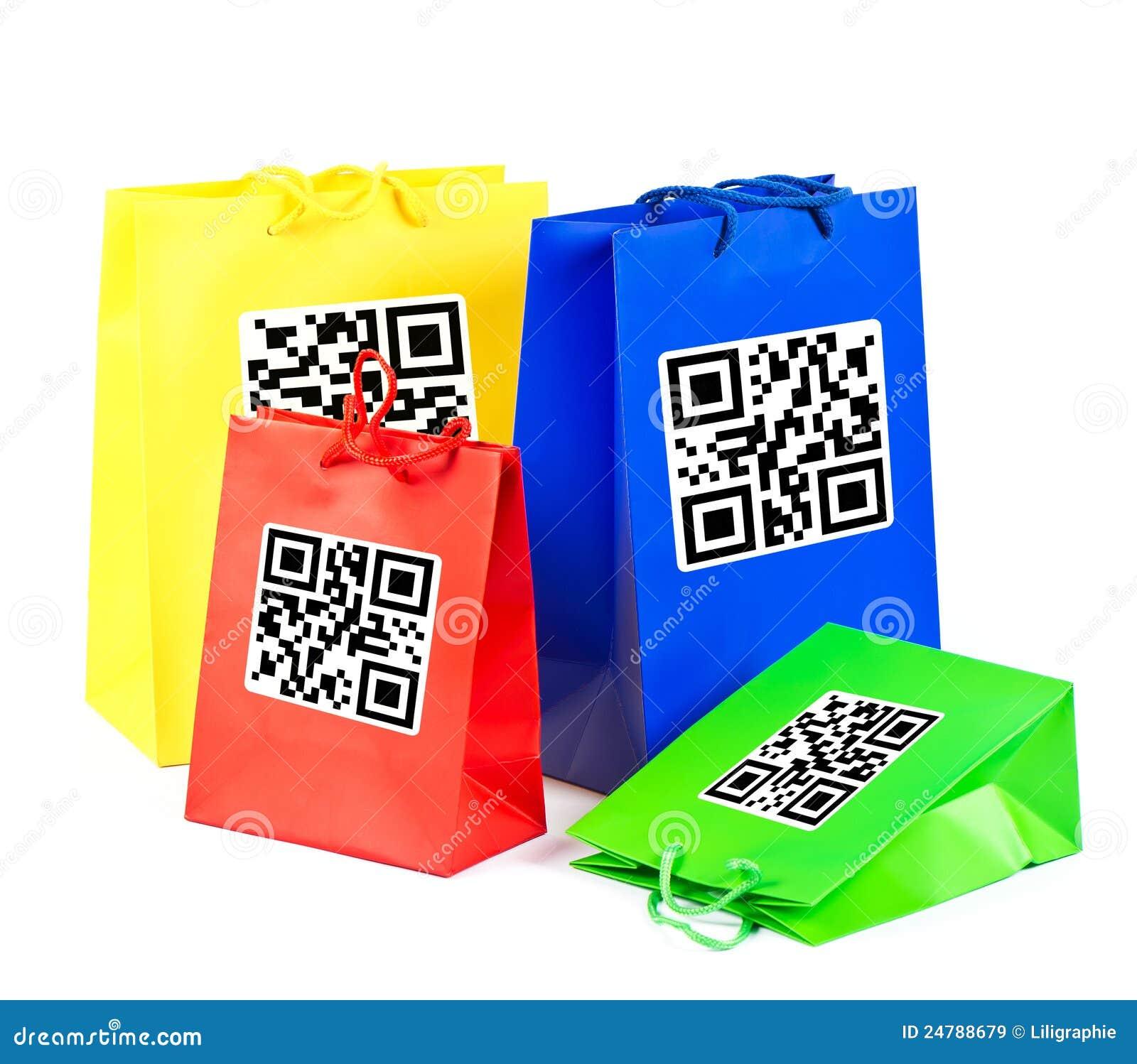 Bolsos de compras coloridos con código de QR