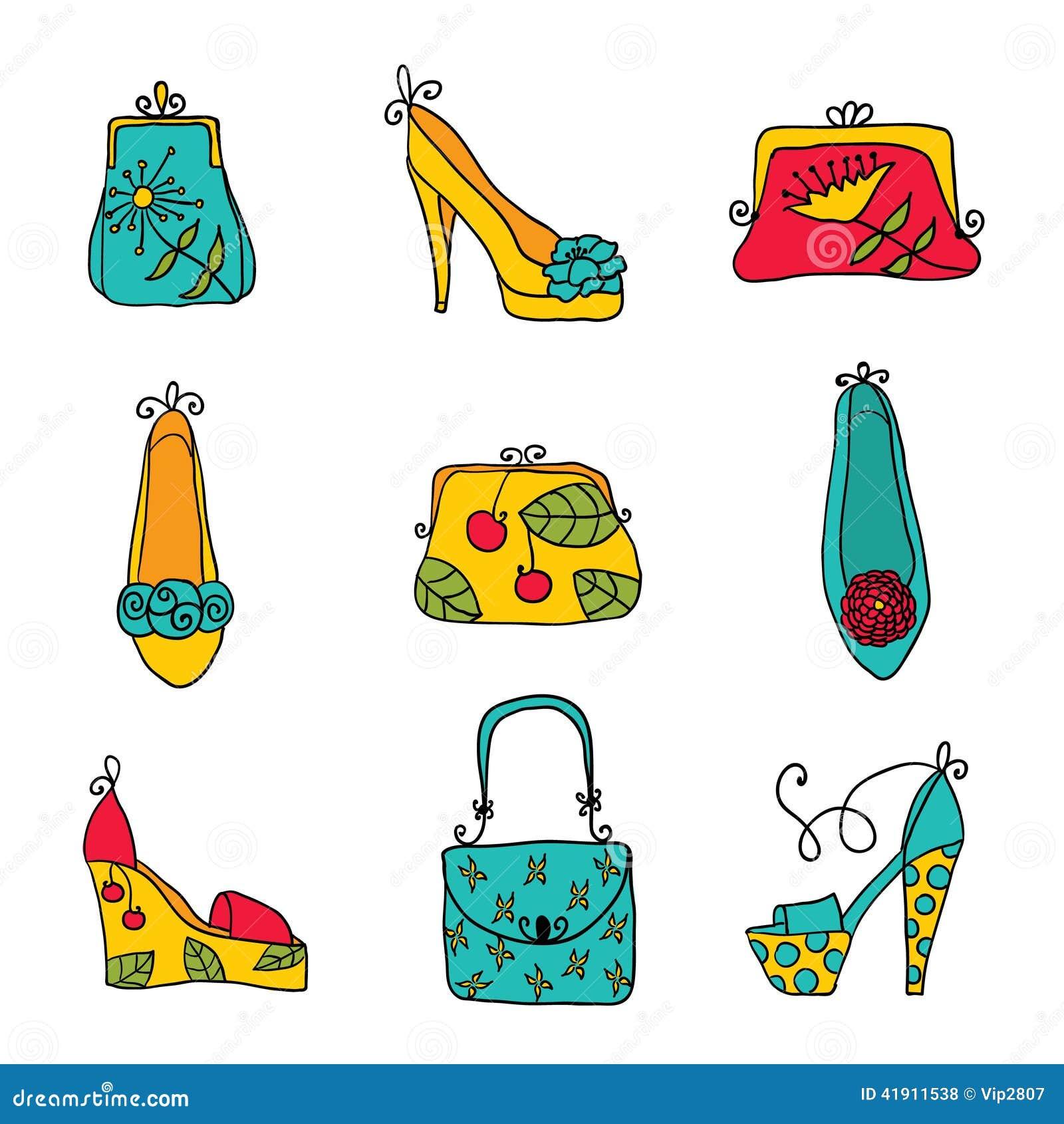 Bolsos y zapatos de las señoras de la colección de la moda