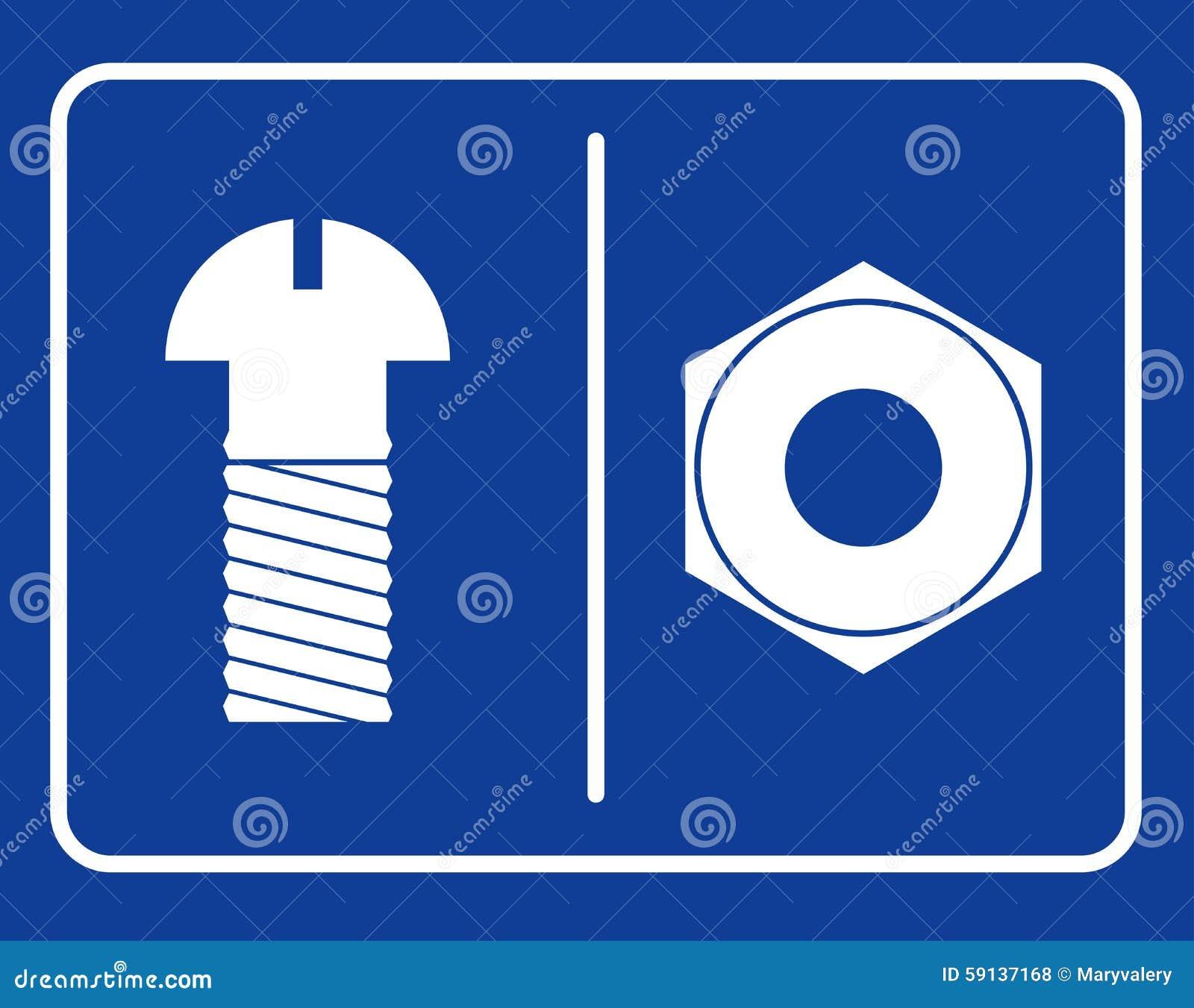 Bolt and nut restroom sign. Symbol public toilet. Sign male toil