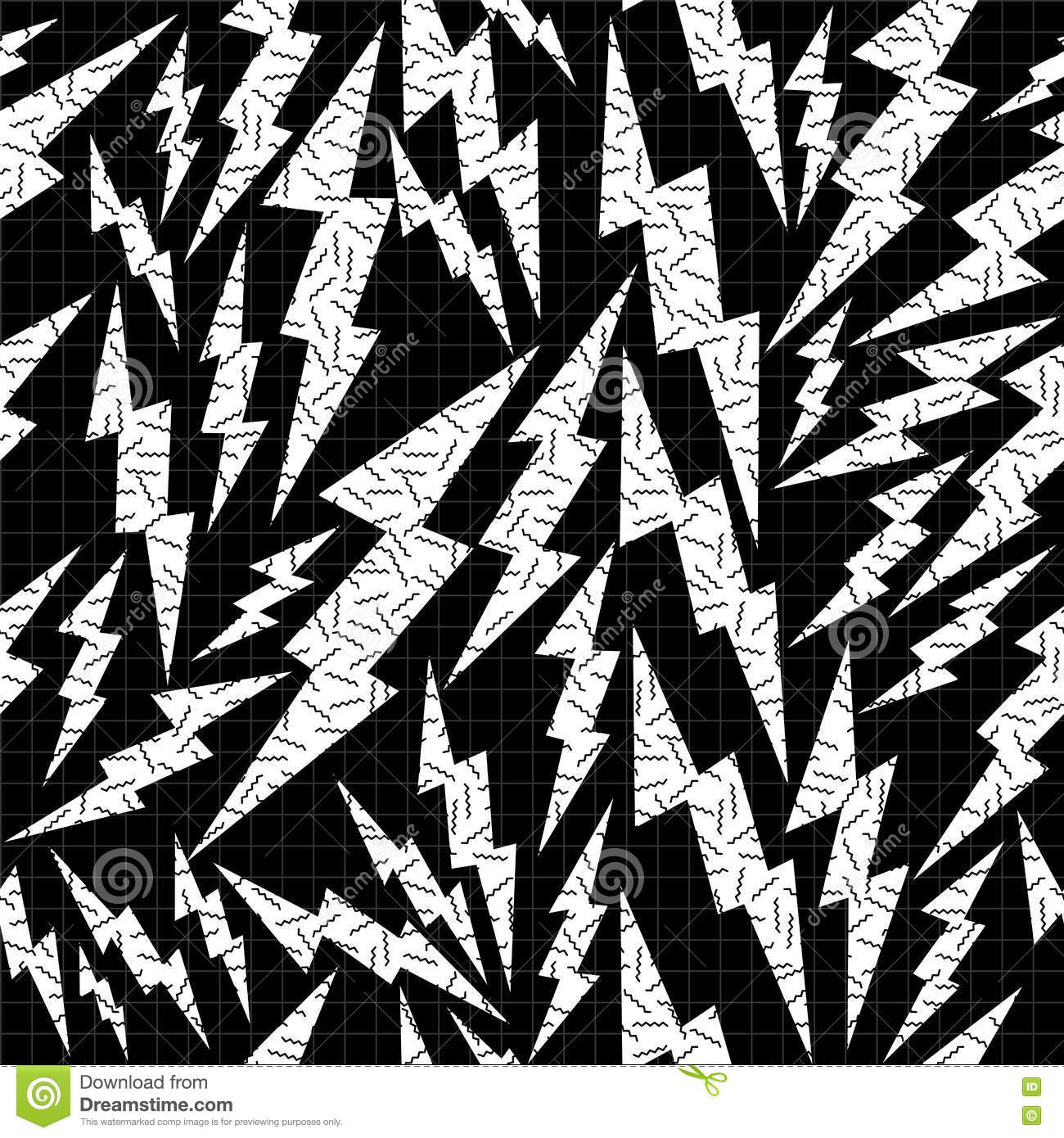 Lightning Seamless Pattern. Black And White Hipster Pop ...