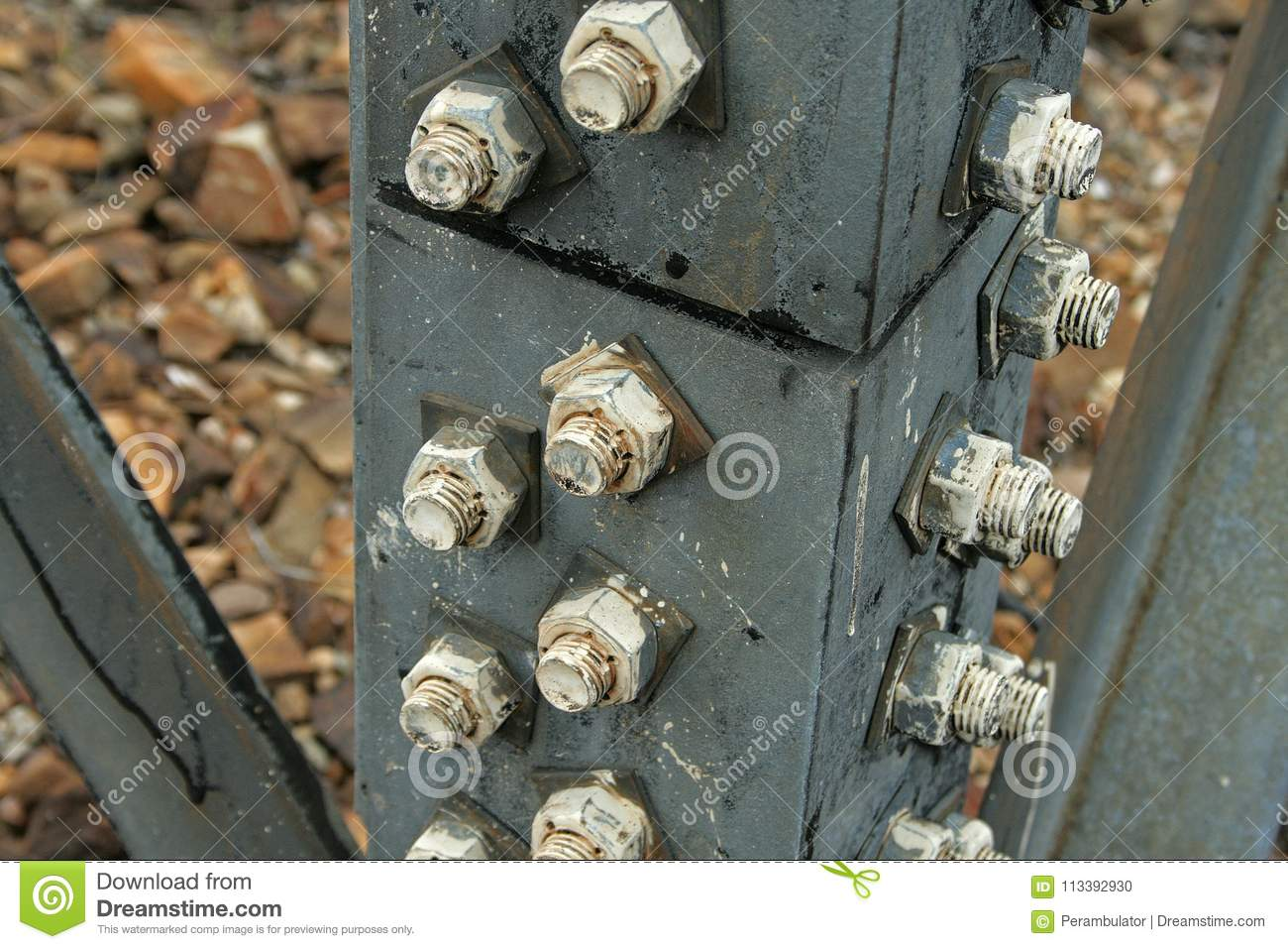 BOLTS IN STRUT OF ELECTRICAL PYLON