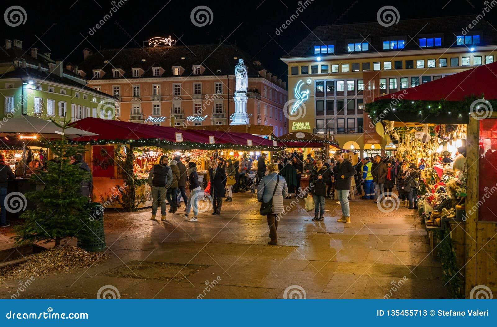 Bolzano Christmas market in the evening. Trentino Alto Adige, Italy.