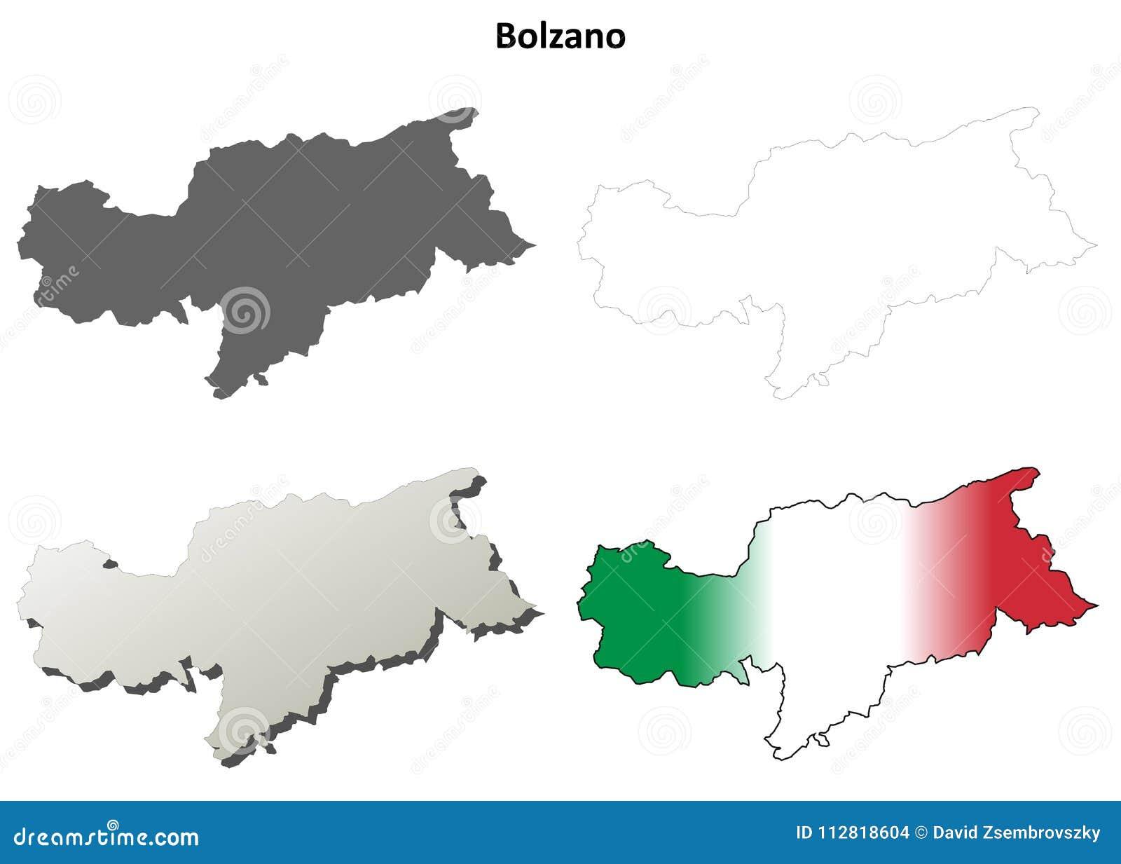 Bolzano Blank Outline Map Set Italian Version Stock Vector