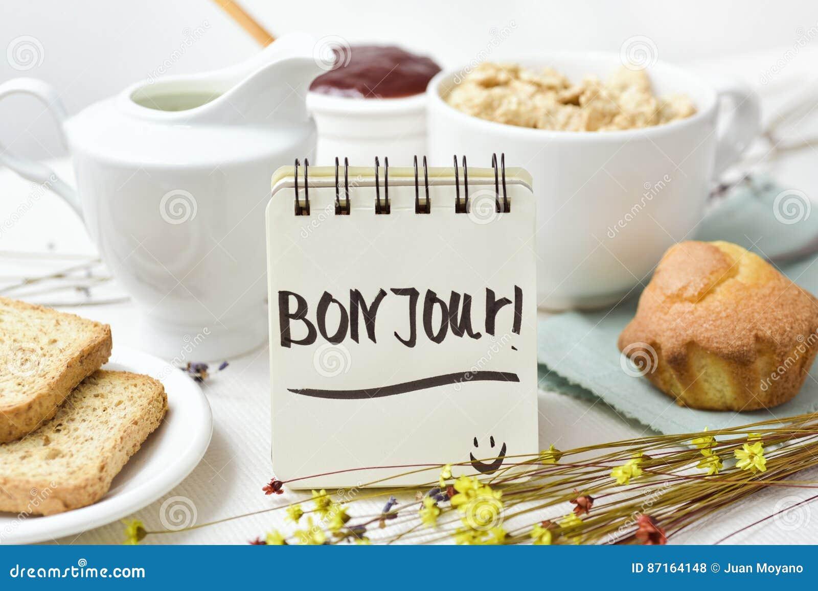 Bom Dia Do Café Da Manhã E Do Texto Em Francês Foto De Stock