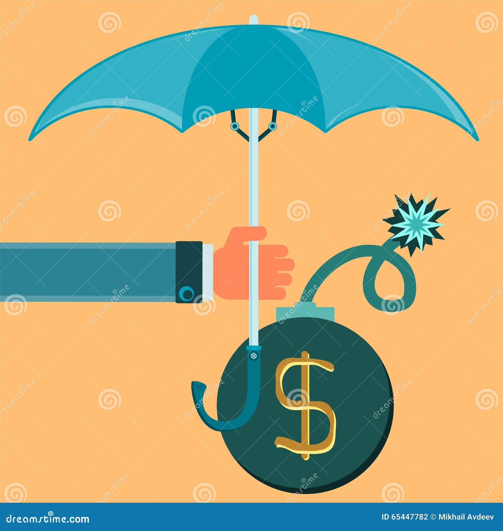 Bomb with burning wick under the umbrella.