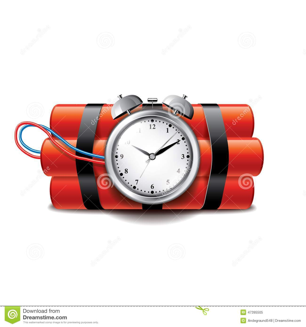 Bomb with clock timer isolated on white vector stock vector image