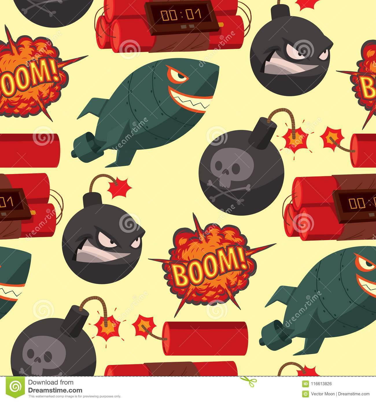 Bomb Dynamite Fuse Vector Seamless Pattern Background Illustration Grenade Attack Power Ball