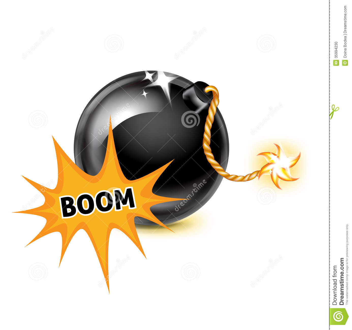 Bomb With Exploding Boom Sign On White Stock Illustration ...