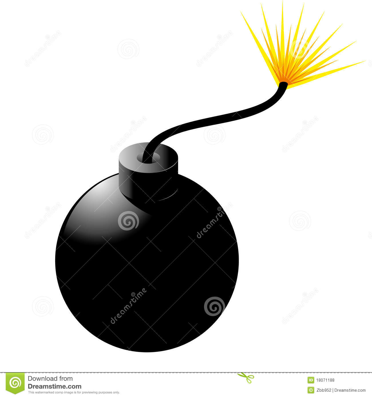 Bomb With Fuse Stock Vector  Illustration Of Shiny  Object