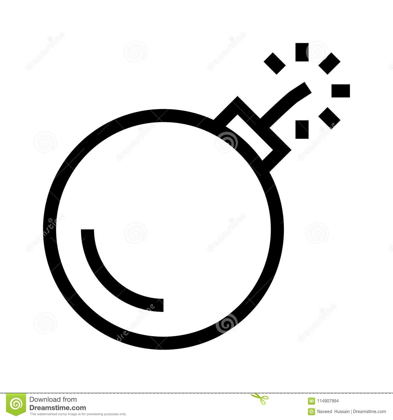 Bomb line icon stock illustration  Illustration of glyphs