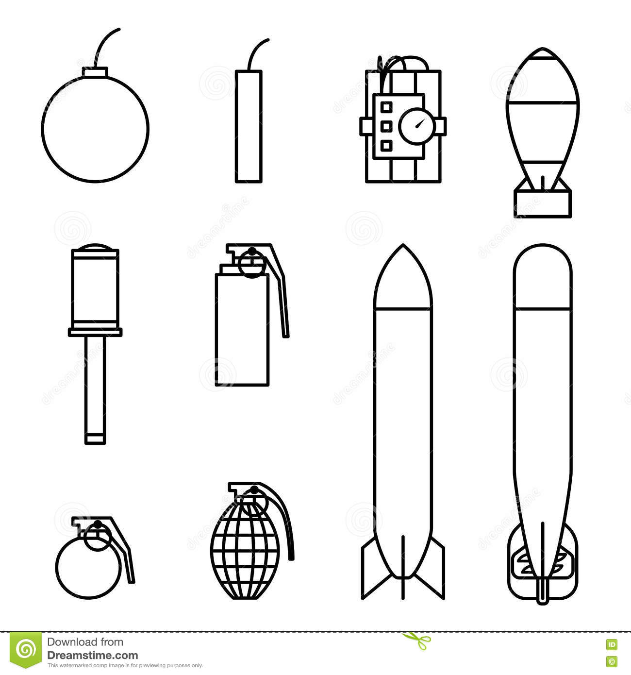 Bomb And Missile Icons Outline Stroke Set Stock Vector