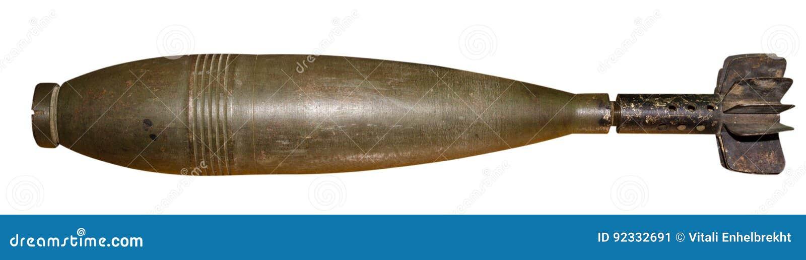 Bomba aérea isolada no fundo branco Bomba velha Bom da aviação