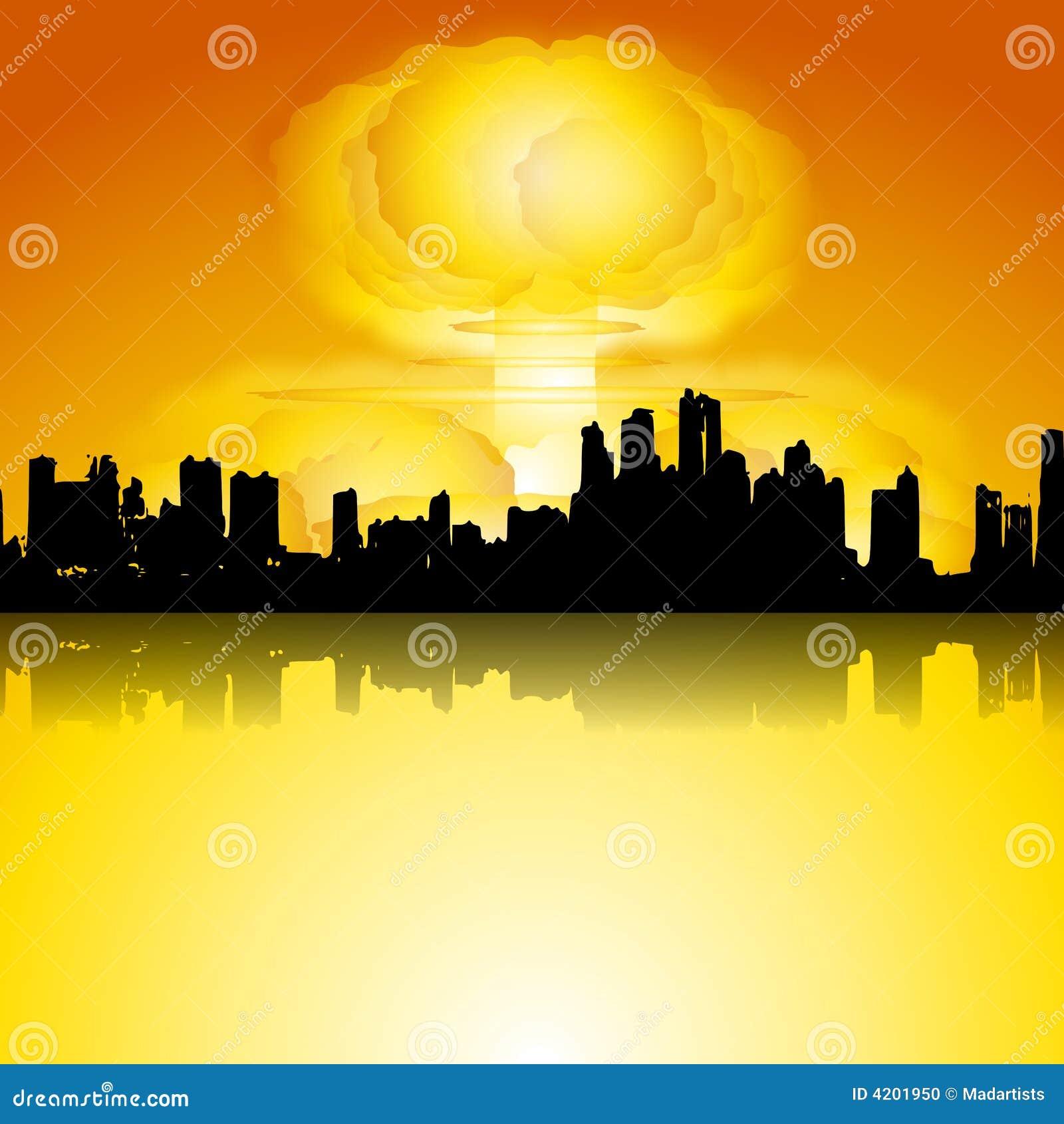 Bomba da guerra nuclear na cidade